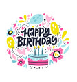 happy birthday lettering in hand drawn frame vector image
