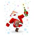 joyful santa with a bottle vector image