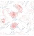 koi carp fish and japanese chrisantemum vector image