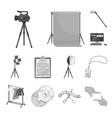making a movie monochrome icons in set collection vector image vector image