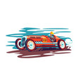 man driver in red race car vector image vector image