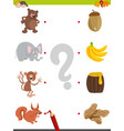 match pictures educational activity vector image vector image