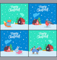 merry christmas fox and bunny posters set vector image vector image