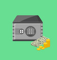 metallic safe box with money poster vector image