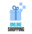 online shopping blue gift box background im vector image vector image