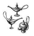 oriental oil lamps vector image vector image