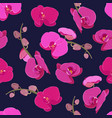 pink purple orchid floral seamless pattern vector image