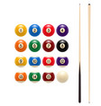 pool billiards balls and cue game icon vector image vector image