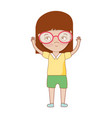pretty girl with hands up and glasses vector image