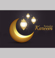 ramadan kareem islamic brilliant golden crescent vector image