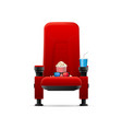 realistic detailed 3d red cinema chair concept vector image vector image