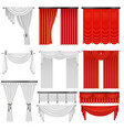 red and white velvet silk curtains and draperies vector image vector image