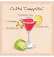 Red Cosmopolitan Cocktail vector image