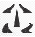 roads with markings straight and curved asphalt vector image vector image