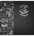 School tools sketch icons on chalk board vector image