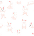 seamless pattern with cute easter bunnies vector image