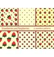 Set berries strawberries and raspberries seamless vector image