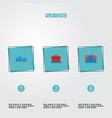 set of famous icons flat style symbols with vector image vector image