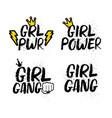 set of girl femenist slogans with lettering vector image