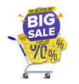 shopping cart big sale banner discount vector image vector image
