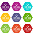 structure biology icons set 9 vector image vector image