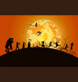 sunset background conceptmany people with men and vector image vector image