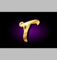 t alphabet letter golden 3d logo icon design vector image vector image
