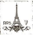 tower eiffel with paris lettering vector image vector image