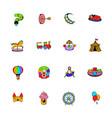 amusement park set icons set cartoon vector image