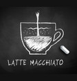 black and white sketch of latte macchiato vector image vector image