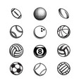 black sport balls set silhouettes vector image vector image