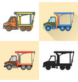 boom crane truck icon set in flat and line styles vector image vector image