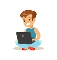 Boy Sitting With Lap Top Child And Gadget vector image vector image