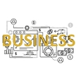 Business concept flat line design with icons and vector image vector image