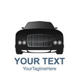 car front view black icon concept front view vector image
