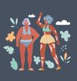 cartoon diverse plus size women at vector image vector image
