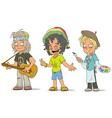 cartoon hippie jamaican artist characters set vector image vector image