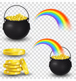 cauldron full of gold coins and rainbow vector image
