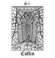 coffin tarot card from lenormand gothic vector image vector image