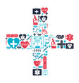 color background with health icons forming a cross vector image vector image