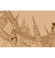 contour drawing of the castle a temple vector image