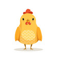 cute cartoon chicken standing colorful character vector image vector image