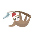 cute christmas sloth icon flat cartoon style vector image vector image