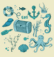 cute sea objects collection vector image vector image