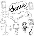 drawn person making choice vector image vector image
