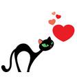 elegant black cat looking at hearts valentines vector image