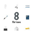 flat icon stationery set of paper clip fastener vector image vector image