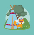 fox cute hippie cartoon vector image