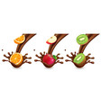 fruit in chocolate splashes orange kiwi apple vector image vector image