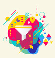 Funnel on abstract colorful spotted background vector image